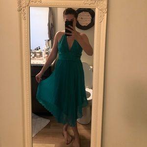 100% silk halter back dress